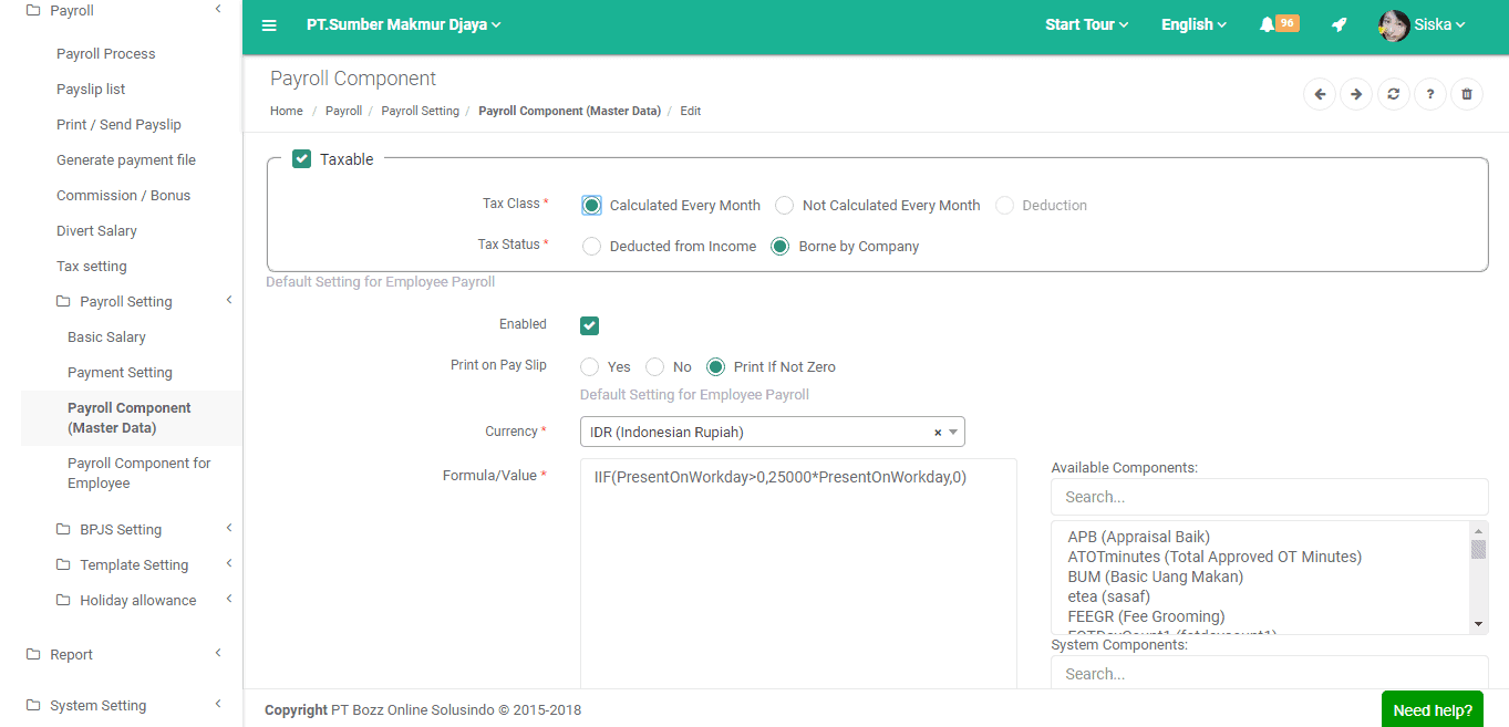 [TUTORIAL PAYROLLBOZZ] Cara masukan tunjangan di Payroll component